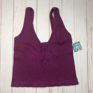 Free People NWT Solid Rib Brami Yoga Crop Top